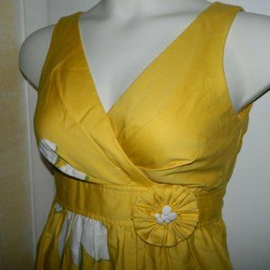50/60's Yellow Daisy Flower Cotton Blend Fitted